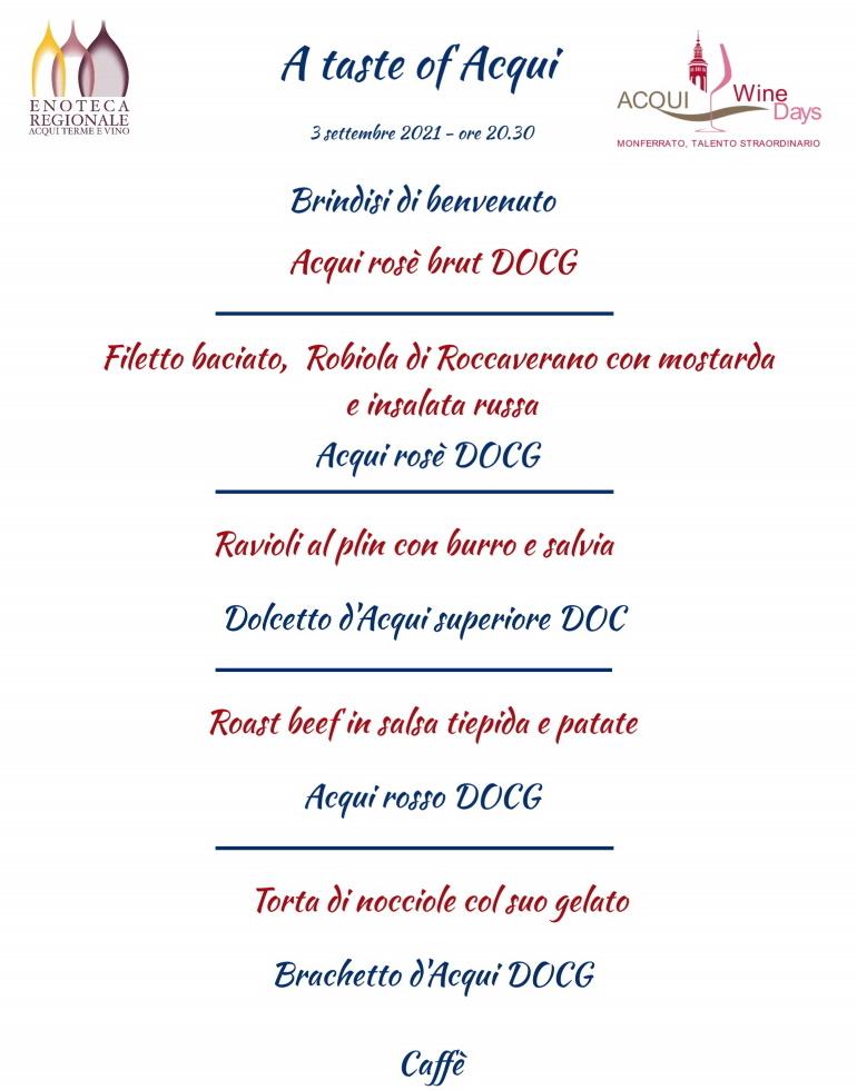 cena in enoteca regionale per Acqui Wine Days 2021